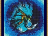 Blue Siamese Fighting Fish Cross Stitch Pattern
