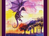 Dragon At Sunset Cross Stitch Pattern