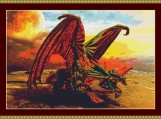 Dragon On The Beach Cross Stitch Pattern