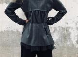 Fashion Coat / Ribbons Coat / Lace Blazer / Wrap Coat / Gray Bla
