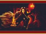 Fire Witch Cross Stitch Pattern