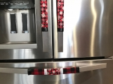 "Refrigerator Door Handle Covers Set of Four Red Plaid with Silver Snowflakes Theme 13"" L x 5?? W"
