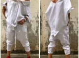 New White Shirt and Harem Pants / Paradox / Short Sleeves Top /