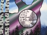 The Deer at Northern Lights, Indigenous Painting, Acrylic