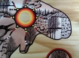 The Journey of a Bull-Moose, Indigenous Painting, Acrylic