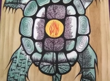 The Turtle, Indigenous Painting, Acrylic & Ink on Board Panel