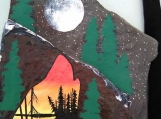 The Wolf by the Mountains and a Lake Painting, Acrylic on Rock