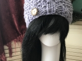 Womens Chunky Beanie Hat with Faux Fur Pom Pom  - Lilac