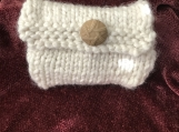 Womens Knitted Mini Wallet - Cream