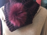 Women's Faux Fur Pom-Pom Closure  -  Burgundy