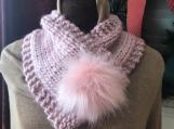 Women's Faux Fur Pom-Pom Closure  -  Quartz Pink