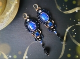 Lapis Lazuli Earrings; Handmade Jewelry; Swarovski Crystals