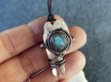 Labradorite pendant - Rock Crystal Point