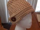 Beige Hat with Brim & Button