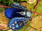 Beetle Brooch, Deep Blue, Japanese Bead Embroidery