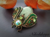 Green Beetle Brooch (Japanese Bead Embroidery)
