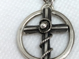 Cross Pendant #2 made with fine silver and sterling silver