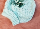 Crotchet/knit Mint Green Sparkle Baby Hat