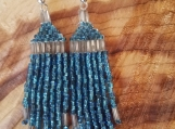 Silver with blue earrings