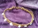 Gemstone chip Woven Copper Bracelet