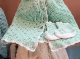 Green with White Trim Crotchet Baby Hooded Cape & Booties