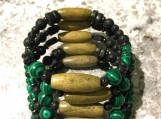 Malachite, lava rock and Hematite Memory Wire Bracelet