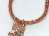 Peridot Flower Necklace of Sterling silver and Copper