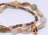 Pink Opal Skull bracelet