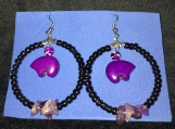 Purple Bear Hoop Earrings