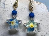 Real flower Earrings,Star Earrings,Flower Earrings,Real plant jewelry,Celestial Earrings,Flower terrarium,Botanical jewelry,Something blue