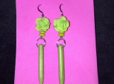 Rose and Spike Earrings (Green)
