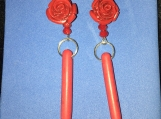 Rose And Spike Earrings (Red)
