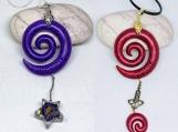 Spiral necklace,Handmade necklace,Flower necklace,Star necklace,Real flower necklace,Small star necklace,Tiny star,Long boho necklace
