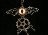 Steampunk Batwings Necklace (Orange/Yellow Eye +keys)
