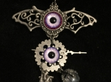 Steampunk Batwings Necklace (Purple Eyes, Heart & Talon)