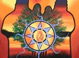 The Family at the Sunset, Indigenous Painting, Acrylic on Canvas