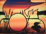 The Loon Family at Dusk, Indigenous Painting, Acrylic on Canvas