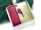 Martin Pescador - Handmade Pendant, Recycled Glass Pendant, Graphic Pendant, Ice Pendant