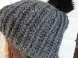 Women's Dark Grey Hat With A Black Pom Pom - Free Shipping