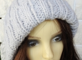 Women's  Grey Two Style Hat With Pom Pom - Free Shipping