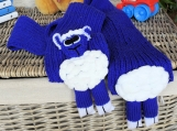 Child' Plain Blue Knitted Lamb Scarf - Free Shipping