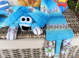 Child's Blue Patterned Knitted Dog Scarf - Free Shipping