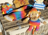 Child's Multicoloured Knitted Monkey Scarf - Free Shipping