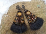 Earrings with mink fur. (Japanese Bead Embroidery)