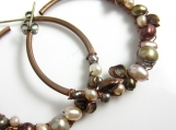 Freshwater Pearl Wrapped Copper Hoop Earrings