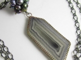 Geometric Slice Necklace - Agate Slice set in Brass with Freshwater Pearls