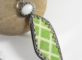 Key Lime Pie Necklace - Vintage Ceramic and Opal Pendant