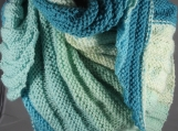 Knitted Blues And greens Women's Triangular Wrap Around Shawl