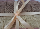 Knitted Pink And Brown Baby Blanket - Free Shipping