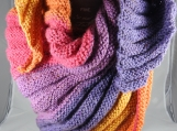 Knitted Women's Multicoloured Wrap Around Shawl - Free Shipping